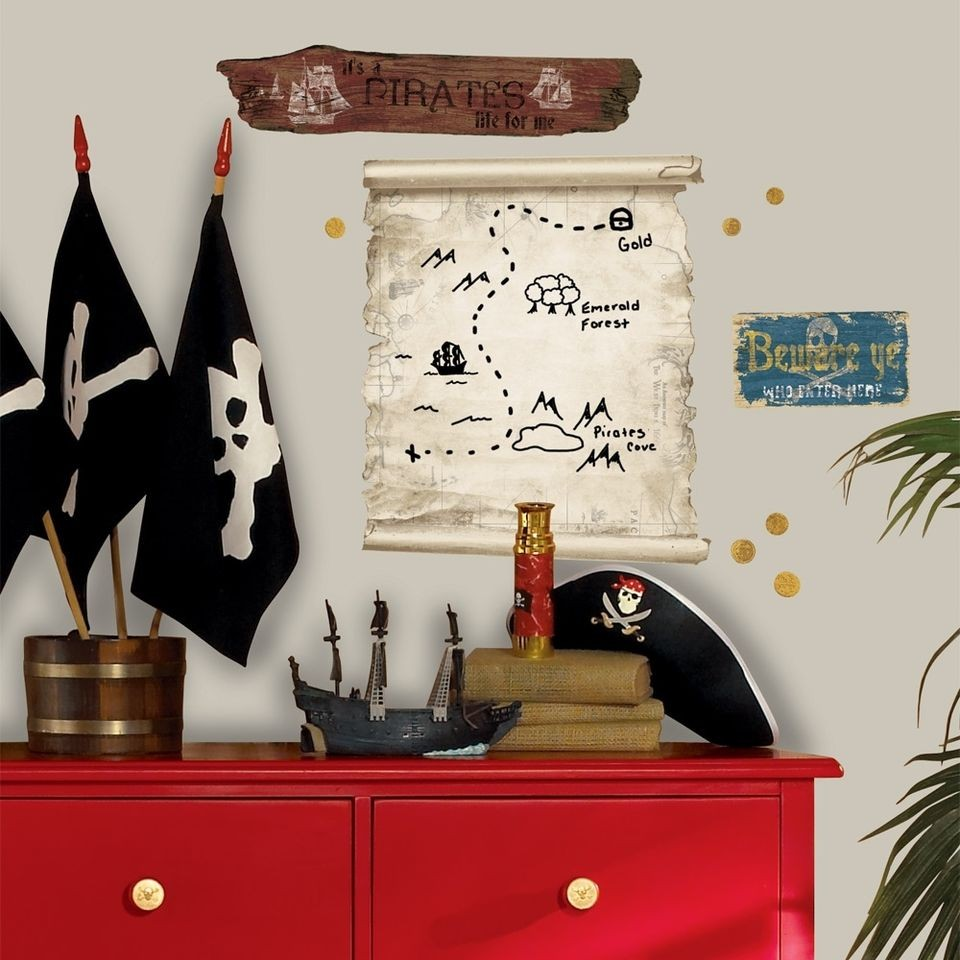 Pirate Treasure Map Dry Erase Giant Wall Decal Kids Room Decor