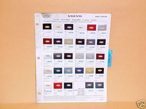 2002 VOLVO EXTERIOR PAINT CHIPS COLOR CHART GUIDE BOOK