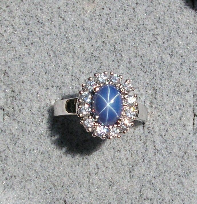 BLUE STAR SAPPHIRE CREATED RHODIUM PLATED NONPRECIOUS METAL ACC RING