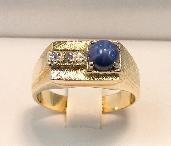 mens blue star sapphire ring in Mens Jewelry