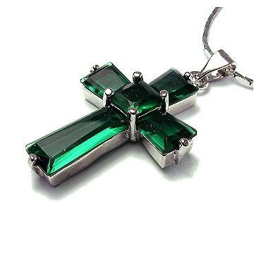 Fashion Lady Jewelry Cross Cut Green Emerald White Gold Gp Pendant