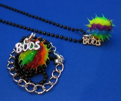 N66 Best Buds / Friend Necklaces 2 pcs Colorful Silicone Spike Black