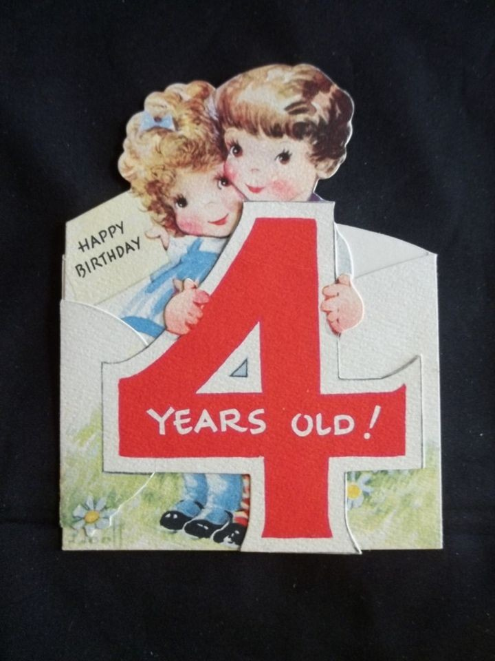 Vintage Happy Birthday 4 Years Old Card Shows Boy Girl Gibson Card