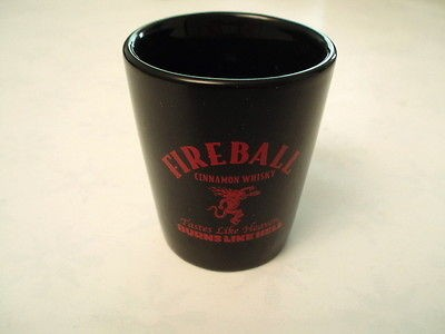 Lot of TWO NEW Fireball whiskey ceramic shot glasses. Letter B. Nice