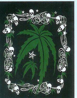 Marijuana Leaf Weed Blanket throw Skulls Mink Plush queen size new