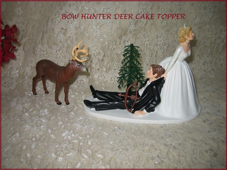 HUMOROUS WEDDING BIG BUCK DEER BOW & ARROW HUNTER HUNTING CAKE TOPPER