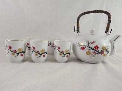 Japanese Cherry Blossom Tree Tea Set Wrapped Handle Teapot & 5 Cups