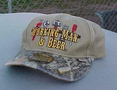 WORKING MAN & BEER CAP / HAT BOTTLE OPENER IN HAT NEW