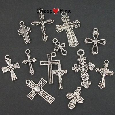 wholesale lots 60 pcs Tibetan silver Mixed style cross Charms Beads