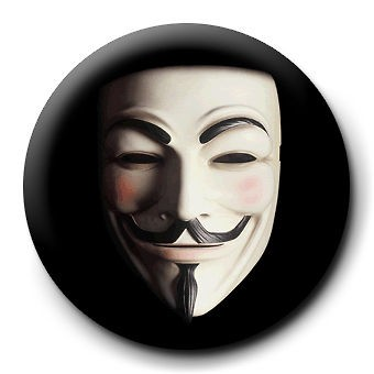 Mask 25mm Badge Button Pin Guy Fawkes Occupy Anon 4chan Wall St