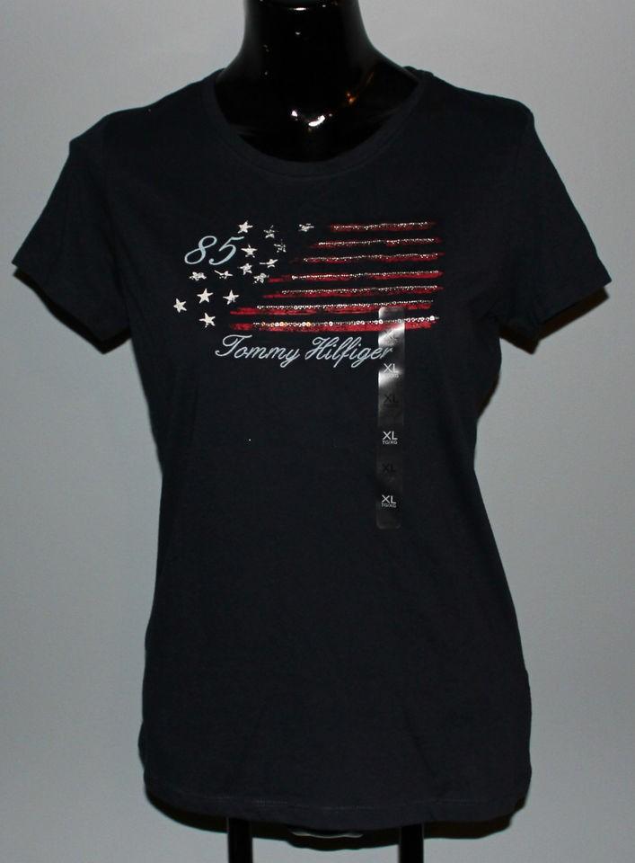 NWT Girls Tommy Hilfiger Shirt   XL   Navy Blue with Flag Design