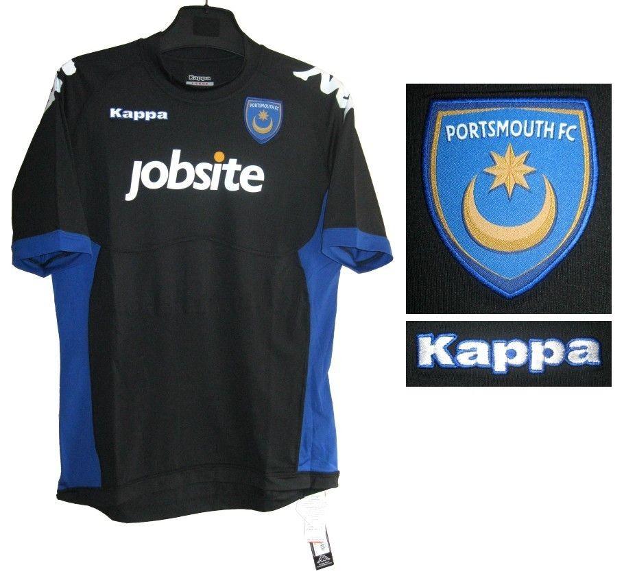 PORTSMOUTH FC KAPPA BLACK FOOTBALL SOCCER JERSEY SHIRT ADULTS NEW