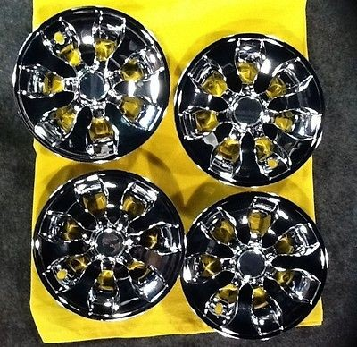 New Chrome sunburst 7 spoked Golf cart wheel covers 4