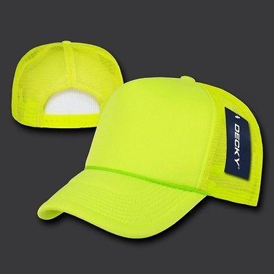 NEW 6 PANEL FOAM TRUCKER HAT BASEBALL CAP NEON YELLOW