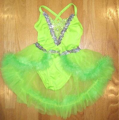 Art Stone Green Dance Leotard Fur Sequin Costume Dress Skirt Tutu