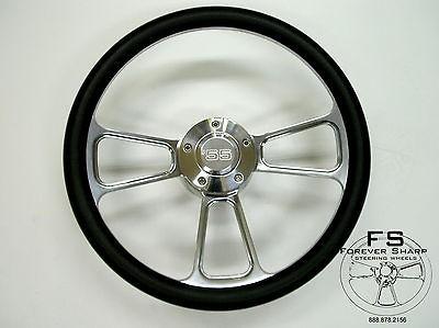 Billet Steering Wheel Black Halfwrap Set 55 Chevy Chevrolet GMC Buick