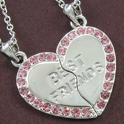 Best Friends Fover Light Pink Stone Crystal Necklace Chain Pendant NEW