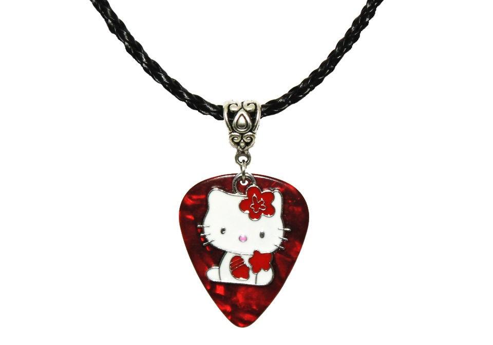 GUITAR PICK Enamel HELLO KITTY Charm Bow Pendant & Black Necklace