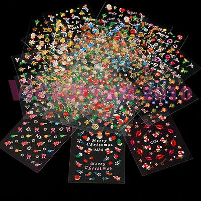 25 X Mixed Design 3D Nail Art Stickers for Christmas 3D Salon Painting