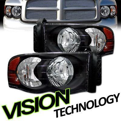 2002 2005 Dodge Ram Pickup Truck JDM Blk Crystal Headlights+Amber
