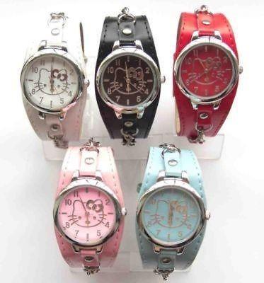 Lot of 5 pcs Boy & Girl Hello Kitty necklace Leather wrist watch clock