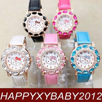 Wholesale 5pcs Hello Kitty Cute Ladies Crystal Quartz Wrist Watch
