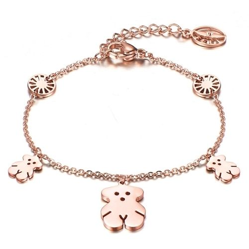 Box Rose Gold Plated Stainless Steel Charms Bracelet Chain Link