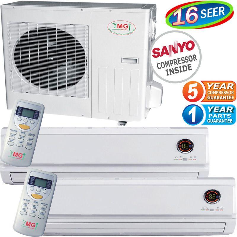 Mini Split Air Conditioner AC Ductless Heat Pump 24000 BTU Dual Zone A