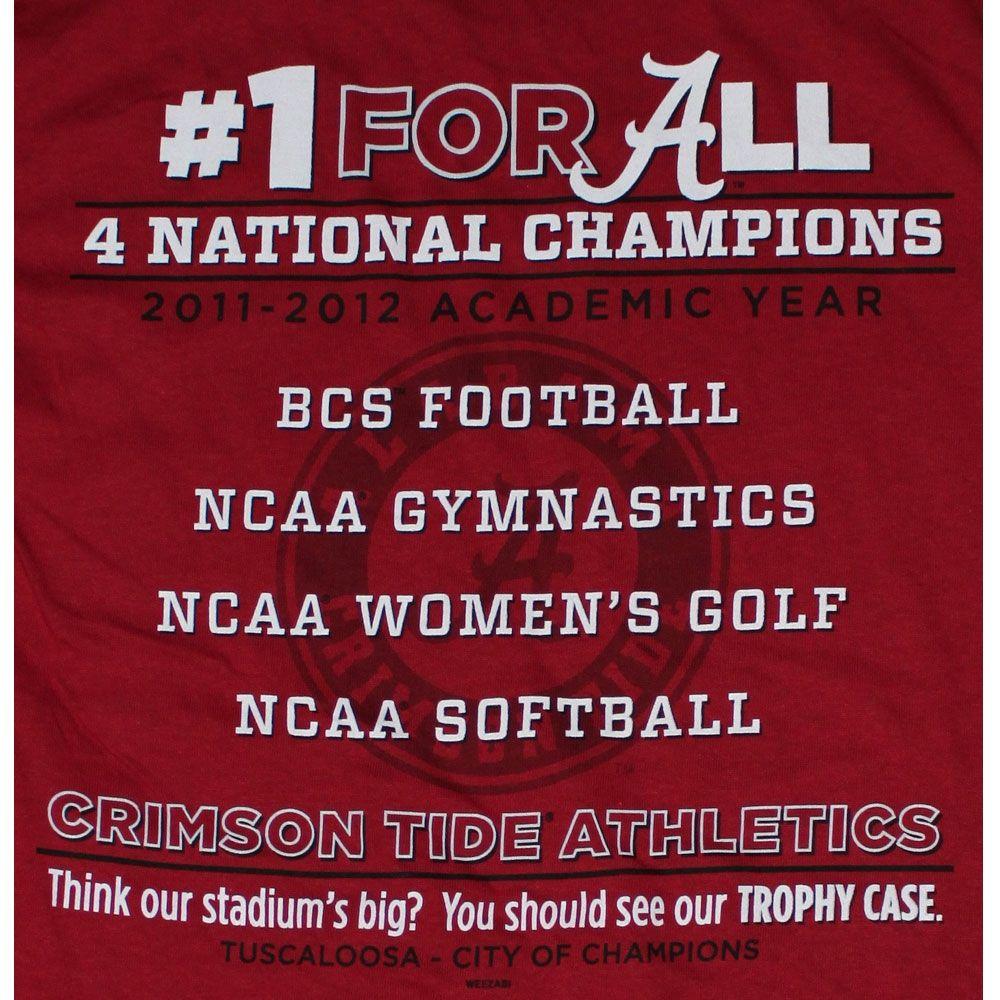 Alabama Crimson Tide Football T Shirts   All 4 Won   2012   4 National