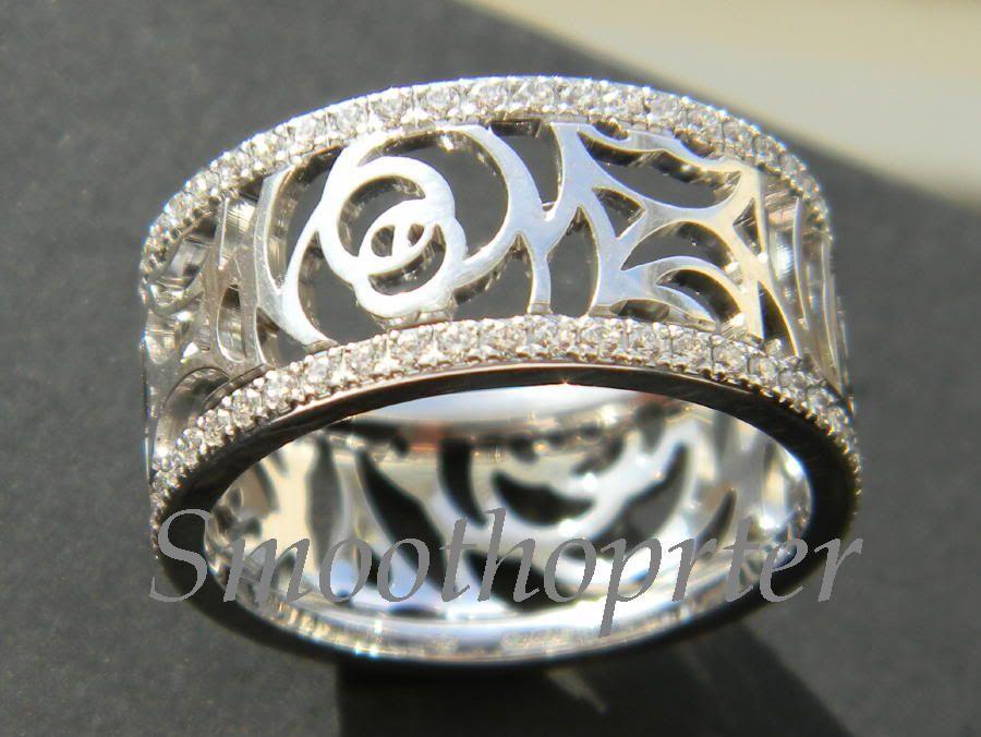 CHANEL   CAMELIA AJOURE White Gold & Diamond Ring