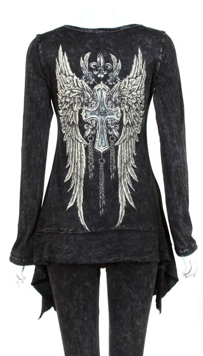 CRYSTAL FAITH CROSS ANGEL WINGS TATTOO BLACK T SHIRT TUNIC 1X ED HARDY