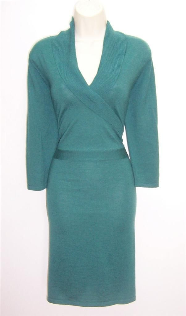 996e370faaf Antonio Melani Cahil Green Wool Knit V Neck Long Sleeve Sweater Dress