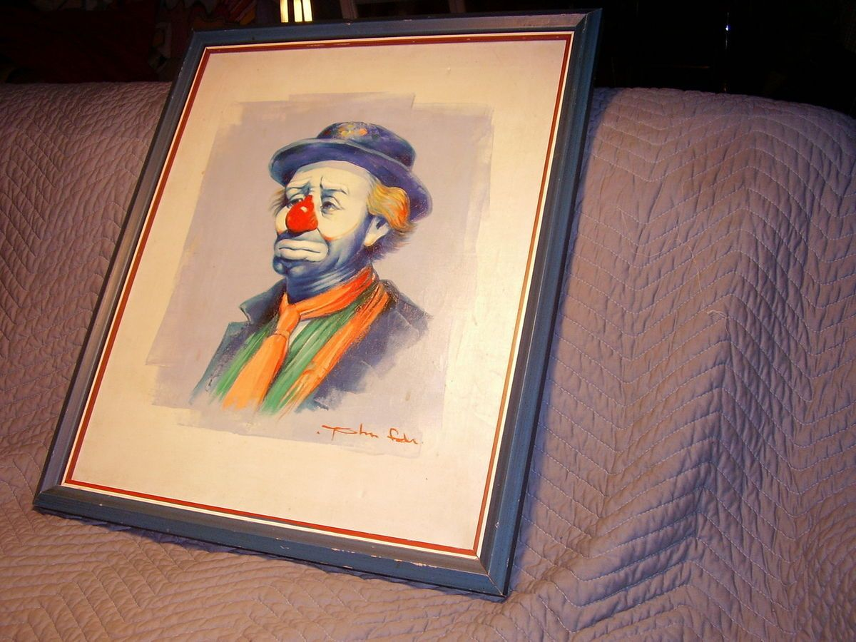 VINTAGE EMMETT KELLY CLOWN ARTIST SIGNED JOHN OR TOM OIL ON CANVAS