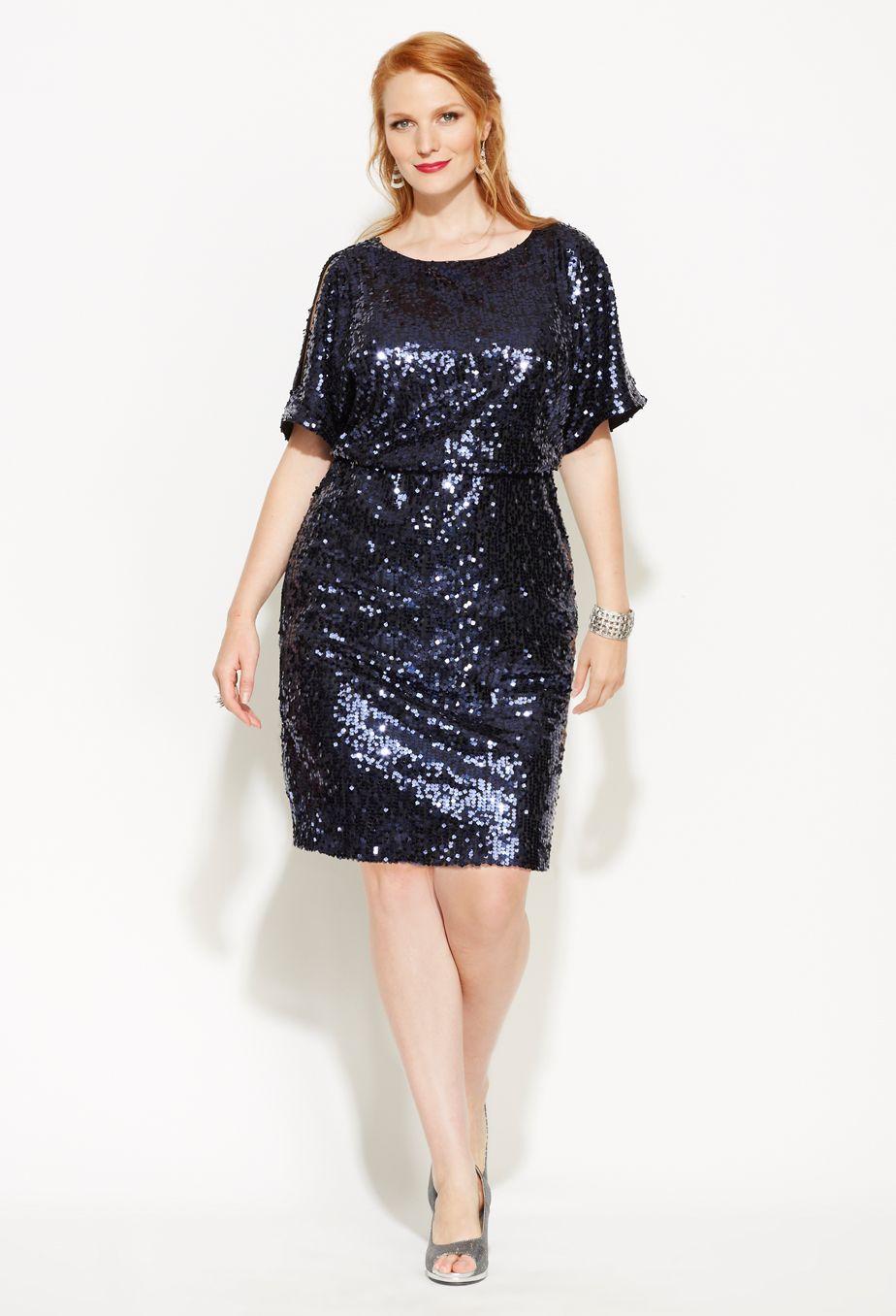 Avenue Plus Size Sequined Blouson Cold Shoulder Dress