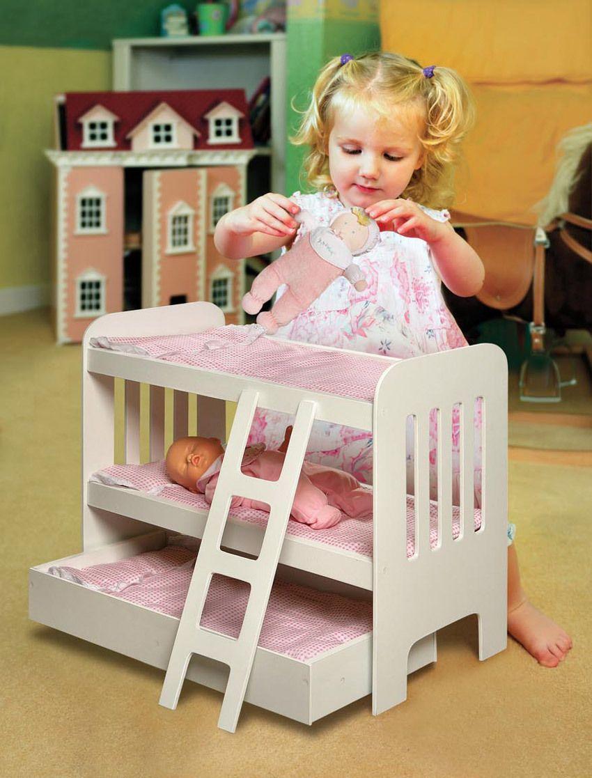 Badger Basket 20 Doll Triple Doll Bunk Beds Ladder Pink Gingham Mats