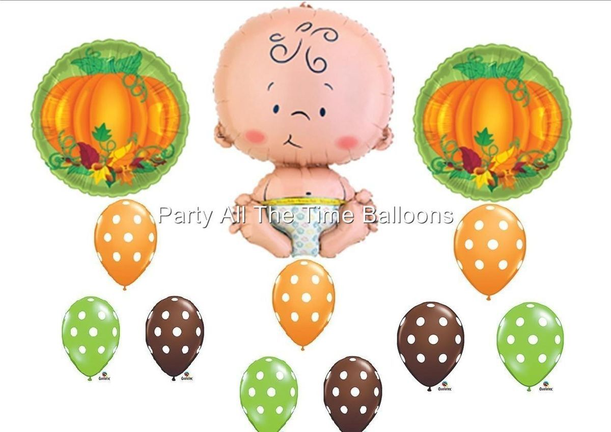 Little Pumpkin Baby Shower Balloons Decorations Boy Girl