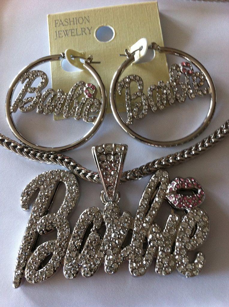 Iced Out Nicki Minaj Barbie Pendant Necklace Earrings