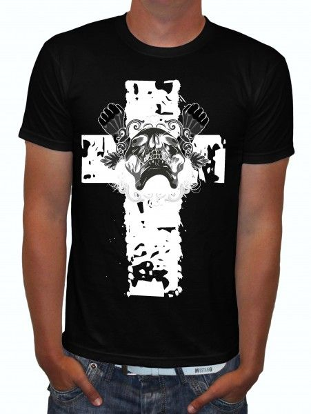 Roxx Skull on A Cross Rockabilly Skull Biker T Shirt