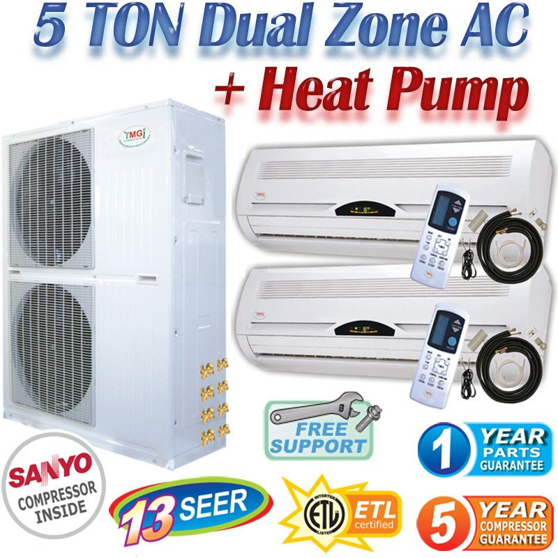 Dual Zone Mini Split Air Conditioner Ductless Heat Pump AC, A/C Heater