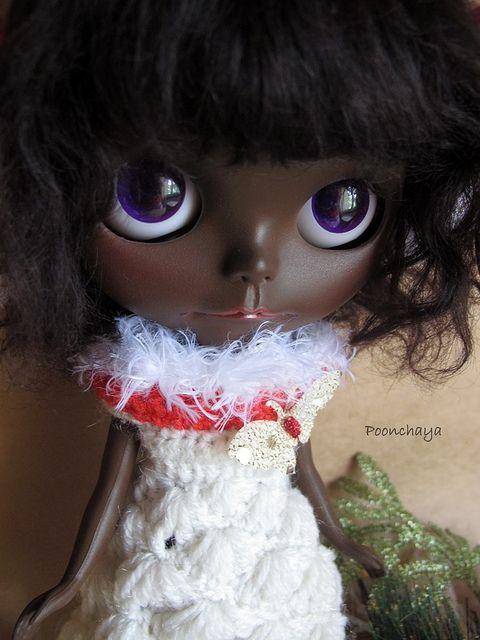 Black Santy Amelie Merry Christmas OOAK Custom Blythe by Poonchaya