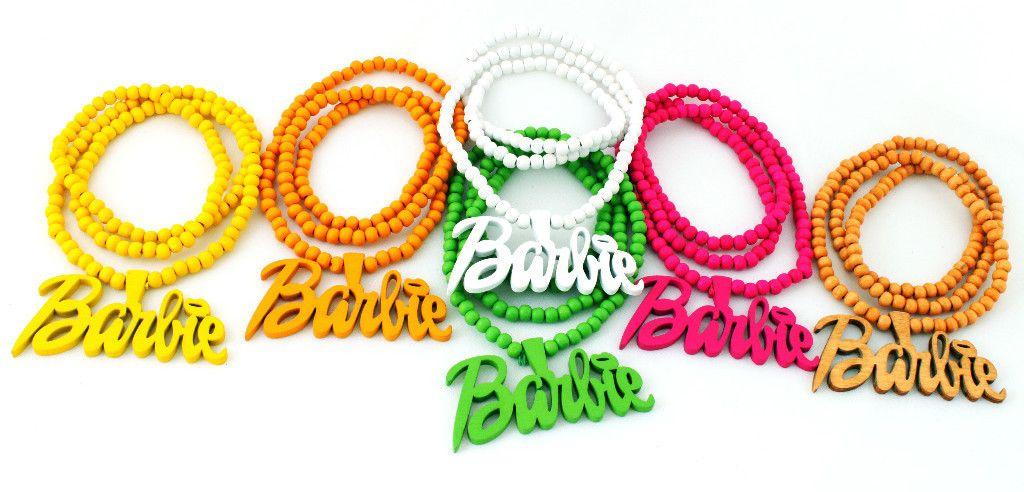 Wood Nicki Minaj Barbie Pendant Necklace 6 Colors