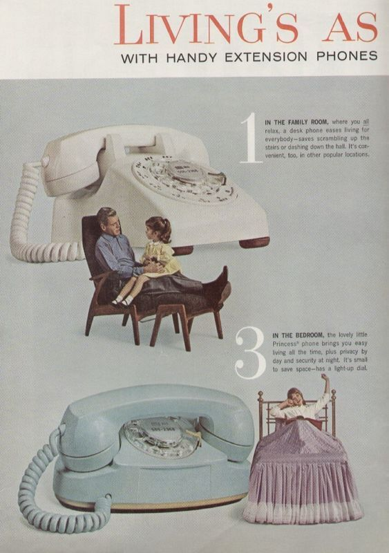 Bell Telephone System 1963 Retro Rotary Phone Ad Yellow