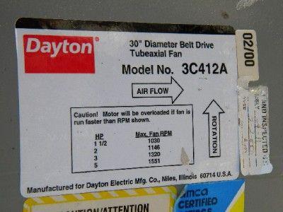 30 inch Diameter Belt Driven Tube Axial Fan w 3 HP Motor