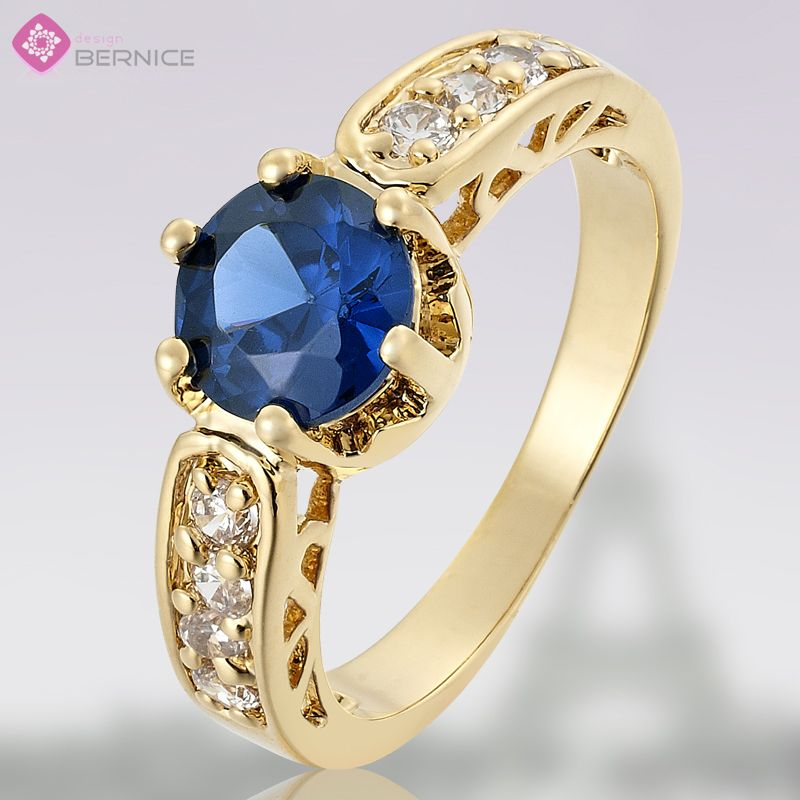 Lady Fashion Jewelry Blue Sapphire Yellow Gold Plated Ring Jewellery