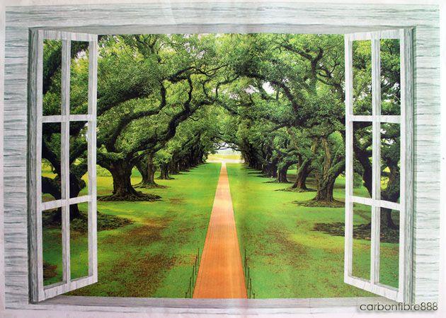 3D Window Forest Trees Wall Stickers Art Decals Mural Wallpaper Office