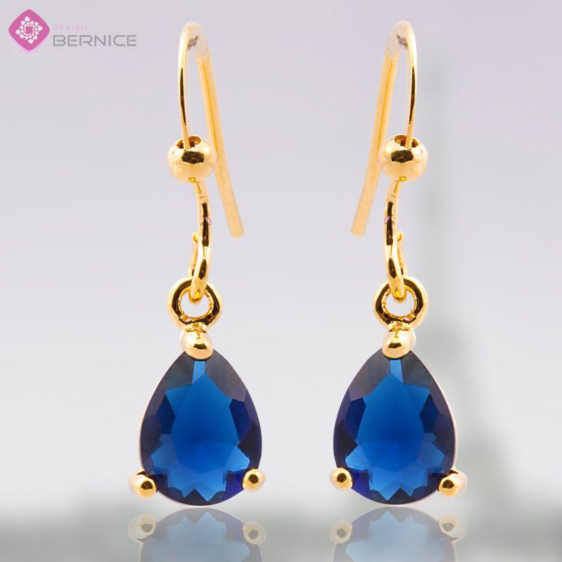 Blue Sapphire Yellow Gold GP Earings Dangle Earrings