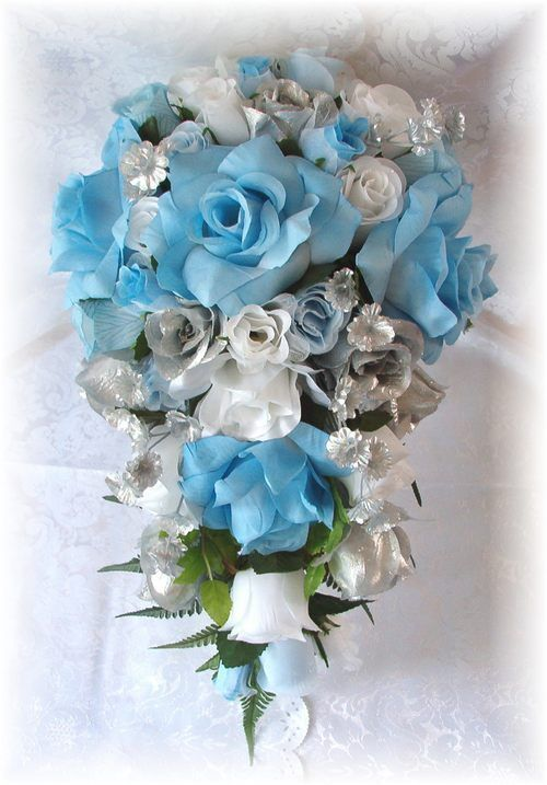 8pc silk wedding bouquet flowers light blue white silver bridal roses