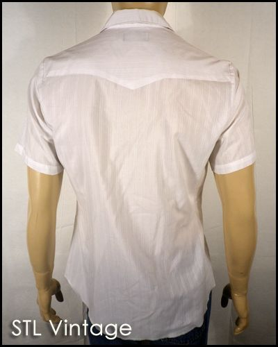Vtg 70s 80s White Wrangler Short Sleeve Pearl Snap Western Shirt Retro