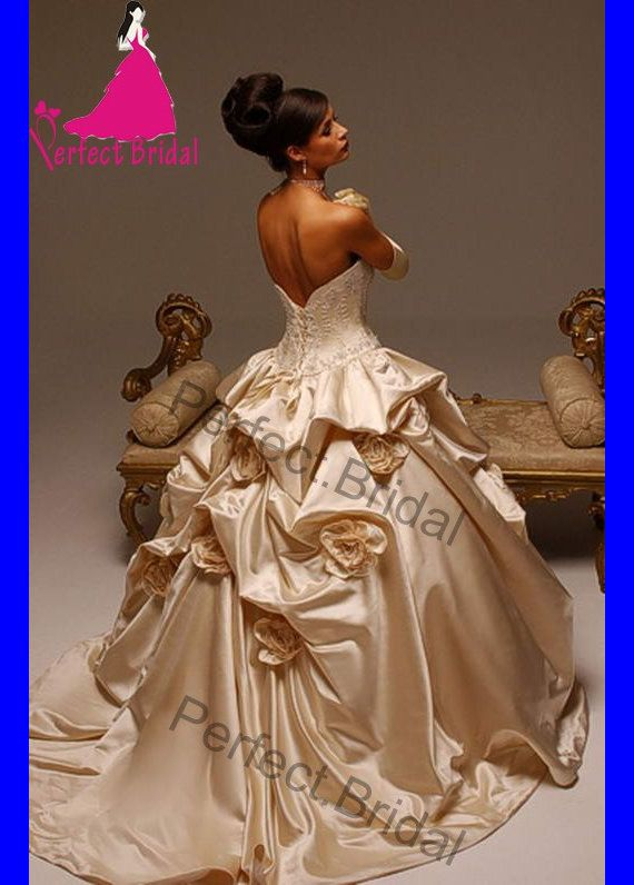 High Quality Champagne Wedding Dresses Bridal Gown Prom Party Ball
