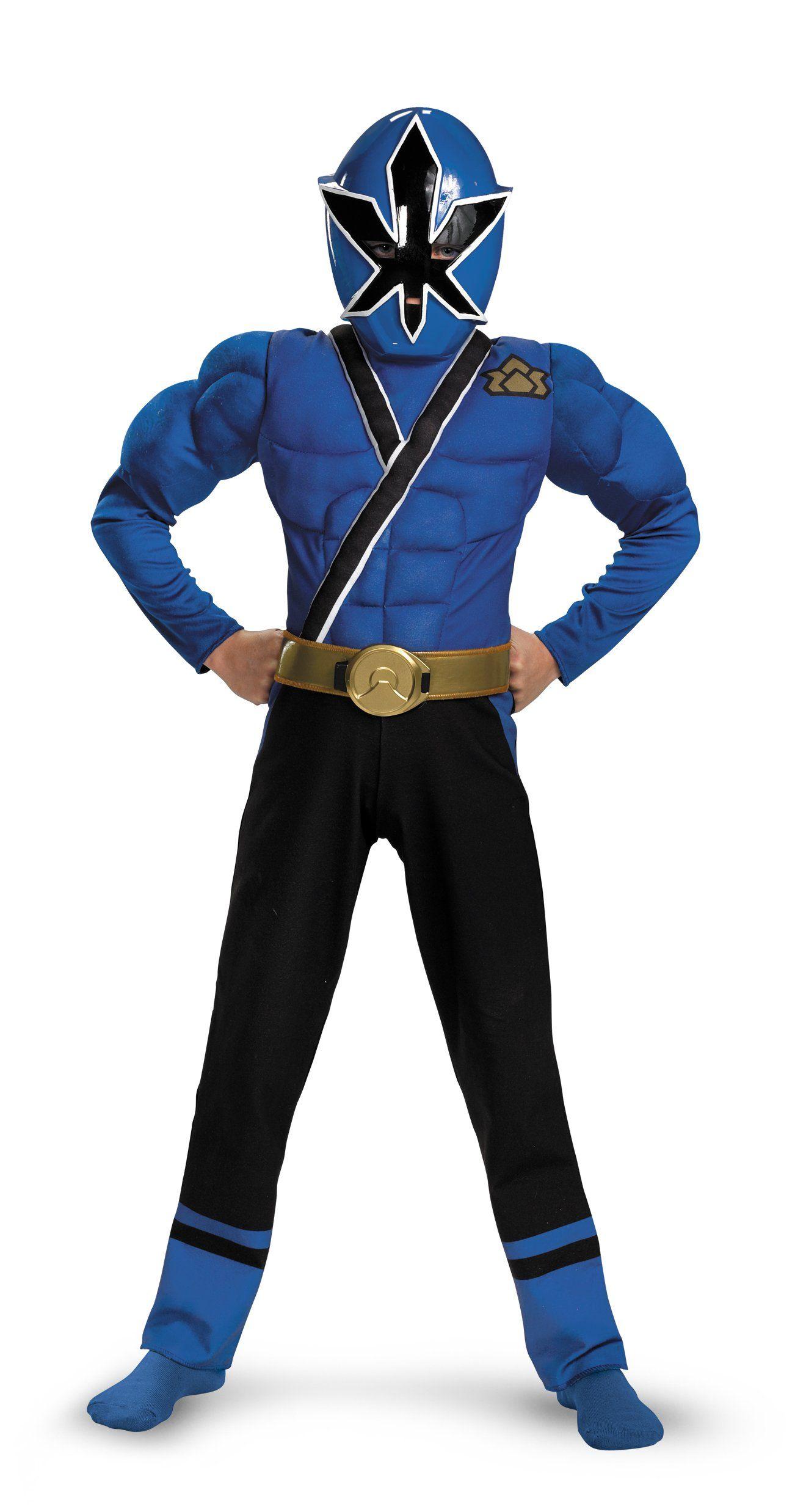 CK7 Boys Power Rangers Samurai Blue Ranger Muscle Child Superheroes